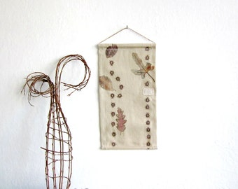 Wall Hanging on leaves and  beetles- Hand stamped fabric, OOAK