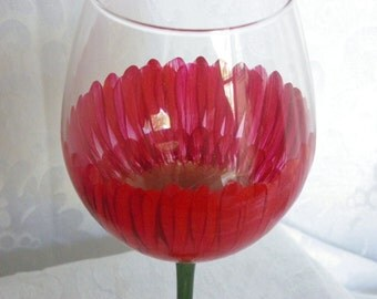 Red Gerber Daisy Hand Painted Wine Glasses