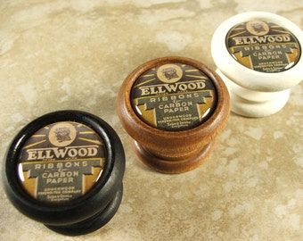"""Decorative """"Ellwood"""" Typewriter Ribbon Wood Cabinet Knob, Pull, Handle for Furniture Drawers and Doors...Price is for 1 Knob"""