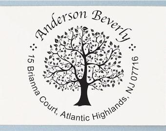 Custom Personalized Return Address Stamp - Round Tree Design - AA01