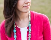 Turquoise Floral Knot Necklace