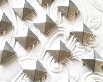 "Silver Studs Pyramid Studs 10mm (approx. 3/8"") Metal Hot Fix (HotFix) Iron On or Glue on Flat Back Studs/ 50 pcs."