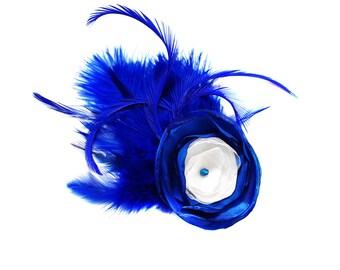 "Wedding Fascinator Bridal hairpiece something blue royal blue or navy blue ""Julietta"""