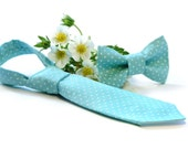 Kids SET Necktie & Bow-tie mint polka dots gift box Matching Tie Set  Boys bow tie. Boys birthday gift. gingham tie Easter wedding