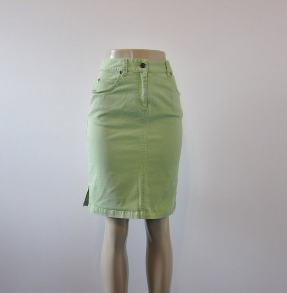 vintage high waisted denim skirt lime green jean by