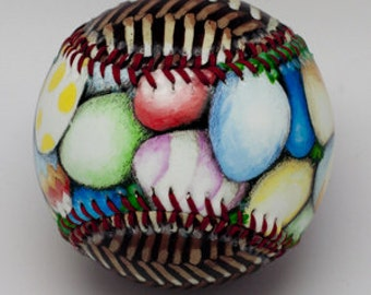 Easter Basket Baseball, Easter Gift, Baseball Gift for Easter, Artistic Baseball, Easter Basket, Easter Eggs (OCCASION07)