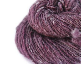 Handspun Singles Yarn - Merino Wool, Yak, Silk - Red Wine Divine - Worsted Yarn - 116yd/ 106m