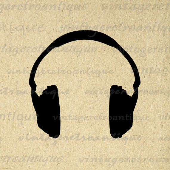 Headphones Silhouette Music Digital by VintageRetroAntique ...
