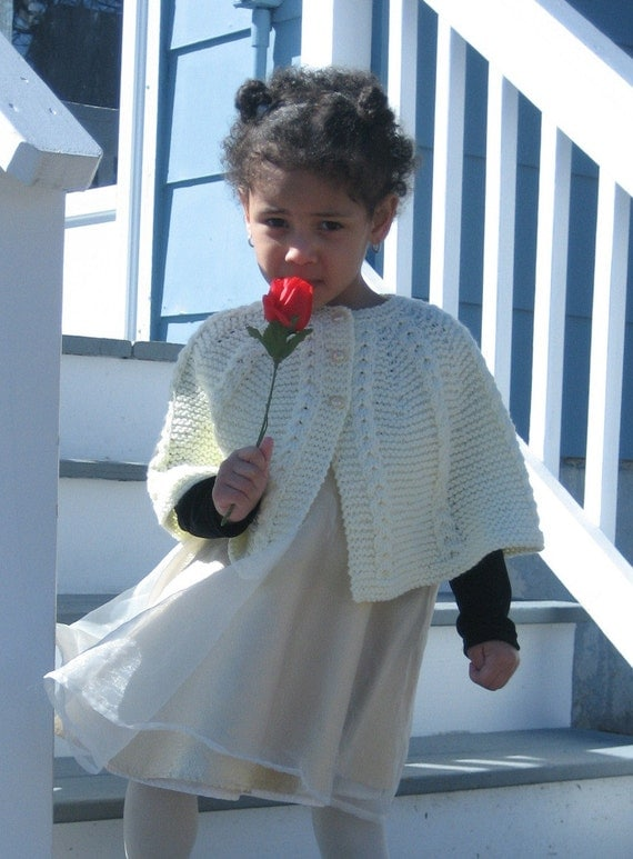 PATTERN for Knitted Childs Cabled Cape. by SeedsOfJoyDesigns