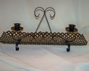 Mid Century Mesh Metal Candle Holder/Centerpiece, Footed Metal Candle Holder