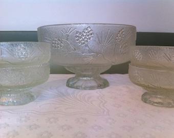 Five Piece Glass Salad Bowl Set Vintage Salad Bowl Set Frosted Pedestal Glass Bowls Dessert Bowls And Server