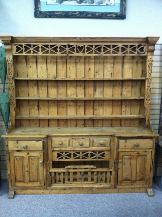 Items similar to gorgeous antique french pine primitive for Antique pine kitchen cabinets