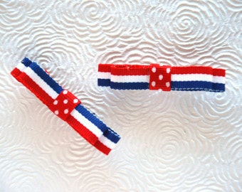 """2 1/2"""" Red, White and Blue Clip Set, Toddler Clips, Girls Clips, Teen Clips and Adult Clips"""