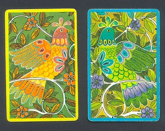 6 Colourful, 1960's Playing Cards - Birds - Collage, Handmade Cards, Mixed Media