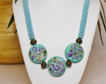 Set - Turquoise/Purple Kumihimo Necklace with Lampwork Lentil Beads and Matching Earrings SRAJD 3520 LETeam