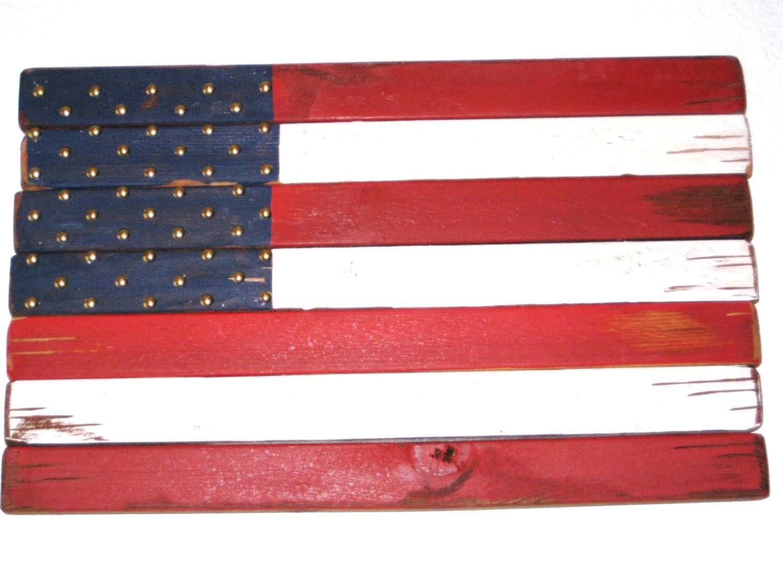 American flag rustic wooden flag folk art flag red white and American flag wood wall art