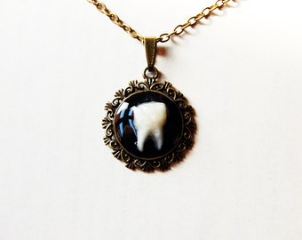 The Rotten Tooth - Handmade Vintage Cameo Pendant Necklace - Memento Mori - Mourning Jewelry