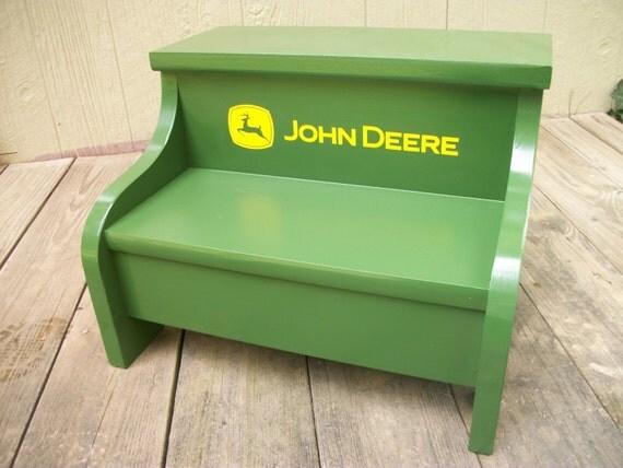 Childs Wood Step Stool John Deere Green