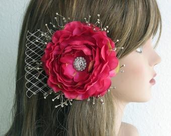 Wedding Accessory- Flower Hair Clip- Bridal Accessory-Cryctals-Veil