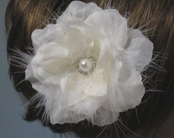 Ivory(White) Bridal Flower Hair Clip Wedding Accessory Crystals Feathers Pearl