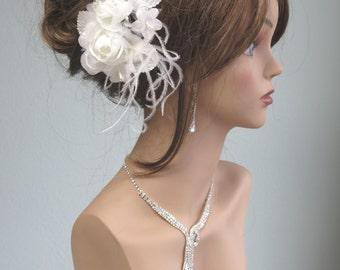 Off White Bridal Flower Hair  Clip Wedding Hair Clip  Wedding Accessory Feathers