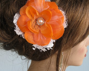 Wedding Hair Accessory Bridal Accessory Orange Bridal Flower Clip Hair Clip Lace Vail