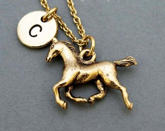 Horse necklace, Running Horse necklace, antique gold, initial necklace, initial hand stamped, personalized, monogram