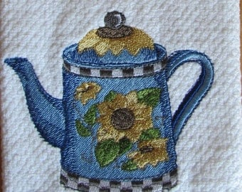 Blue Teapot With Sunflowers