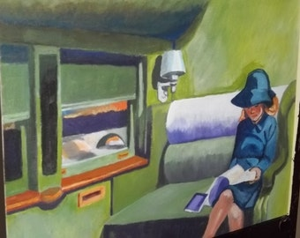 Copy of Edward Hopper painting.  Acrylic small paintings.