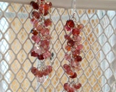 Pink and Berry Tourmaline Waterfall Wire Wrapped Earrings OOAK