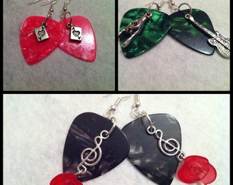 Plectrum earrings, with playing card charms, guitars, roses and treble cleff