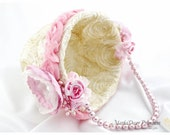 Lace Wedding Flower Girl Luxury Basket Bridal Pearl Custom Basket with Brooches Crystals Handmade Flowers in Ivory and Pink