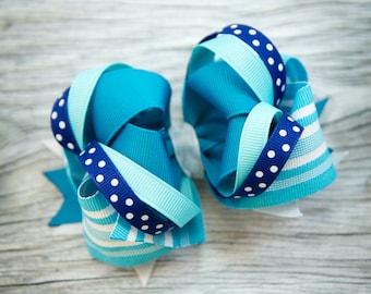 Blue-Aqua-White M2M Layered Boutique Bow