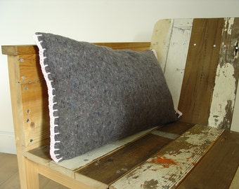 Sale pillow, grey moving blanket with white cotton, crocheted pillow