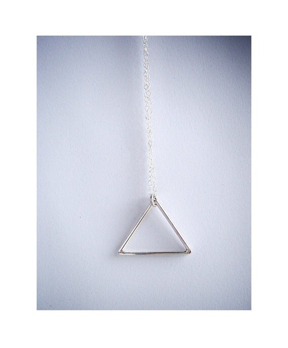 Sterling silver necklace. Geometric Jewelry. Modern jewelry contemporary silver pendant.