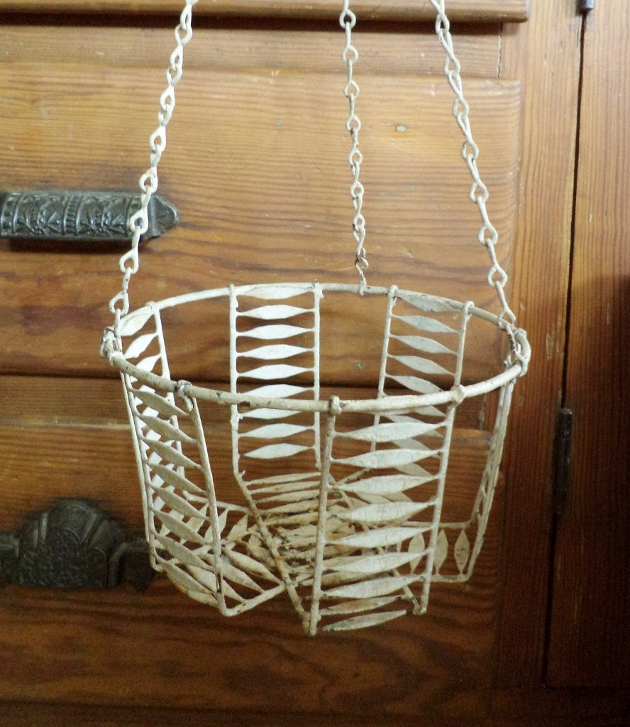 Vintage Wire Hanging Basket For Garden Or Kitchen By Zippitydoodle