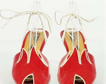 MAUDE FRIZON vintage 80s Avant Guarde peep toe sandal 6.5 / 7 , Paris