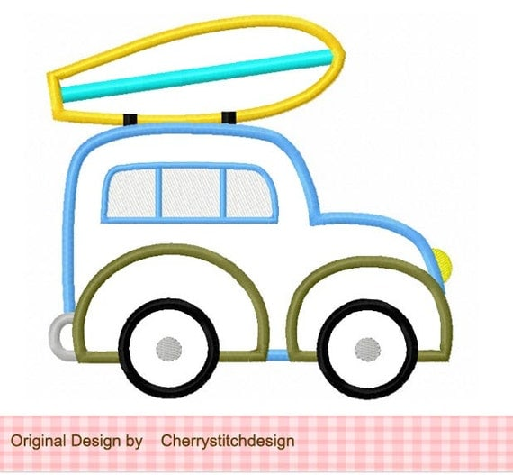Surf station wagon machine embroidery applique design for