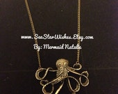 Antique Brass Octopus on Necklace