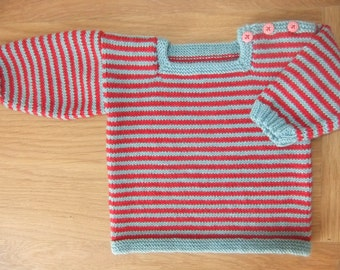 Hand knitted square necked stripy jumper available to order in sizes 3-6, 6-9, 9-12 and 12-18 months