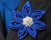 Royal Blue Kanzashi Brooch Pin Or Blue Fabric Brooch or Headpiece Fascinator Brooch- Perfect to go with any outfit.