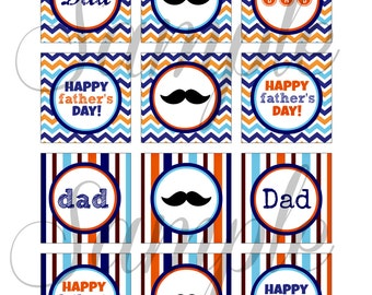 INSTANT DOWNLOAD Happy FATHERS Day 2 inch Digital cupcake toppers / sheet for Cupcakes, Toppers, Buttons, Bottlecaps, Charms, Iron On