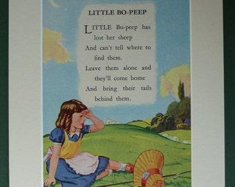 Vintage Little Bo-Peep print - Bo Peep - 1940s - poem - nursery rhyme - fairy-tale - sheep - bonnet - girl - childrens - picture - art
