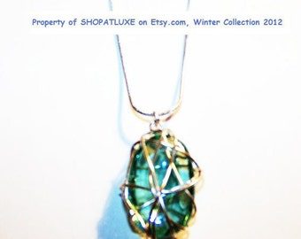 Wire Wrapped Aqua Glass Pendant - Repurposed - Sterling Silver .925 Necklace