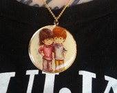 Vintage 1970s Fran Mar Moppets Pendant Necklace Boy and Girl