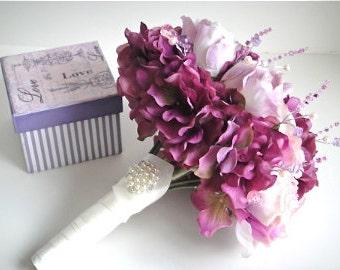 Bridal Bouquet in Purple , Wedding, Bridesmaids Bouquet
