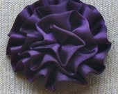 Satiny Flower Puff - Purple/ Turquoise/ or Burnt Orange FREE SHIPPING - BowBravo