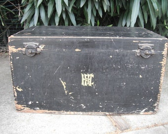 Vintage Asian Wooden Trunk or Box, Large Wooden Antique Dovetailed Box, Storage Trunk