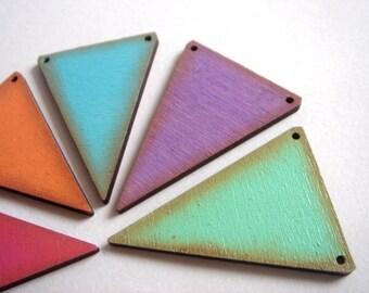 Painted Geometric Triangles pendants,Laser Cut Wood Triangles Tile for Jewelry,Geometric Jewelry,Hand Painted wood Triangles 4mm,