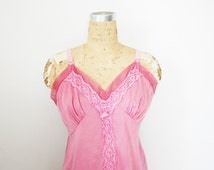 vintage 60s Upcycled Slip Dress Hand Dyed Raspberry Pink Floral Lace Bust Full Slip Dress Nightie